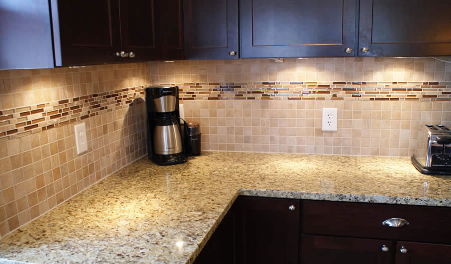 Glass and stone mosiac backsplash wolf custom tile and design - Custom kitchen backsplash tiles ...
