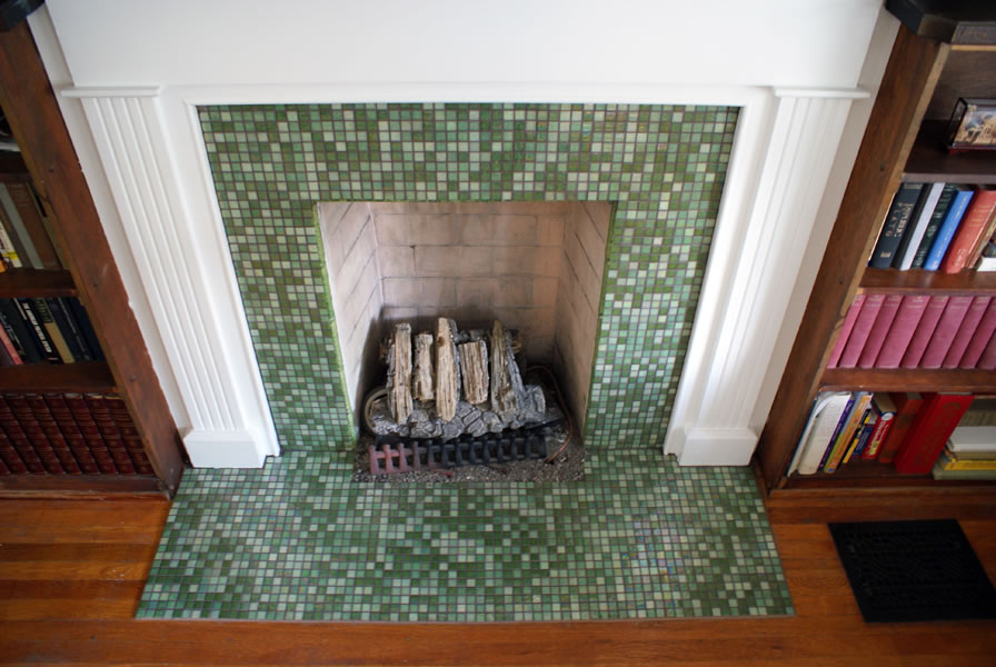 Lovely Mojito Mosaic Fireplace — Wolf Custom Tile and Design KS02